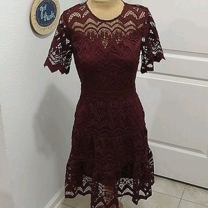 Skies Are Blue Burgundy Lace Dress